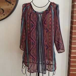 Dina Be Francescas Boho Sheer Open Shoulder Blouse
